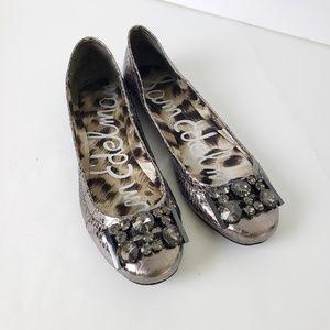 Sam Edelman Caper Snake Embellished Metallic Flats